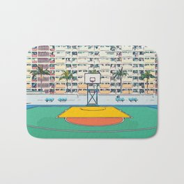 Ball is life - Baseball court Palmtrees Bath Mat
