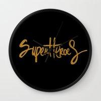 superheroes Wall Clocks featuring Superheroes by Indah Irawan