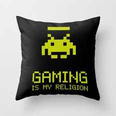 Gaming is my religion Throw Pillow