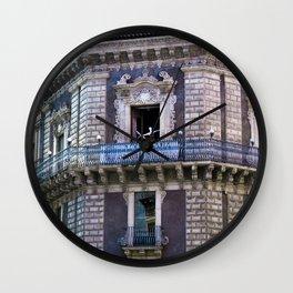 Sicilian facade of Baroque in Catania  Wall Clock