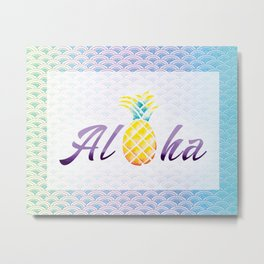 Aloha Mermaid Scales Watercolor Pineapple Metal Print