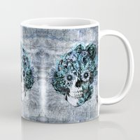 ohm Mugs featuring Blue grunge ohm skull by Kristy Patterson Design