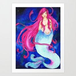 Galaxy Mermaid Art Print