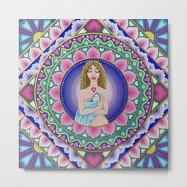Mother and Child Lotus Mandala Metal Print