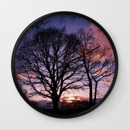Woodland Edge Sunset Wall Clock