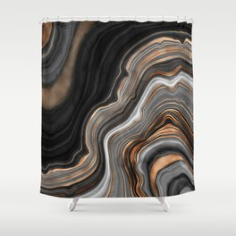 Elegant black marble with gold and copper veins Shower Curtain