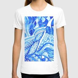watercolor blue composition T-shirt