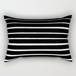 Rough White Thin Stripes on Black Rectangular Pillow