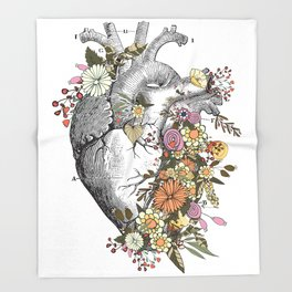 Heart With Flowers Throw Blanket