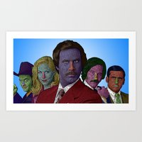 anchorman Art Prints featuring Anchorman by CultureCloth