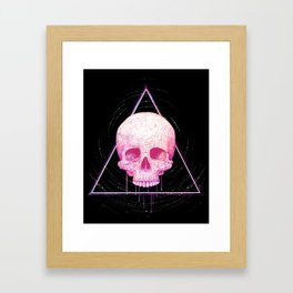 Skull in triangle on black Framed Art Print