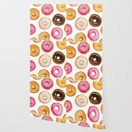 Donut pattern in watercolor Wallpaper