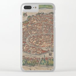 Vintage Map of Venice Italy (1572) Clear iPhone Case
