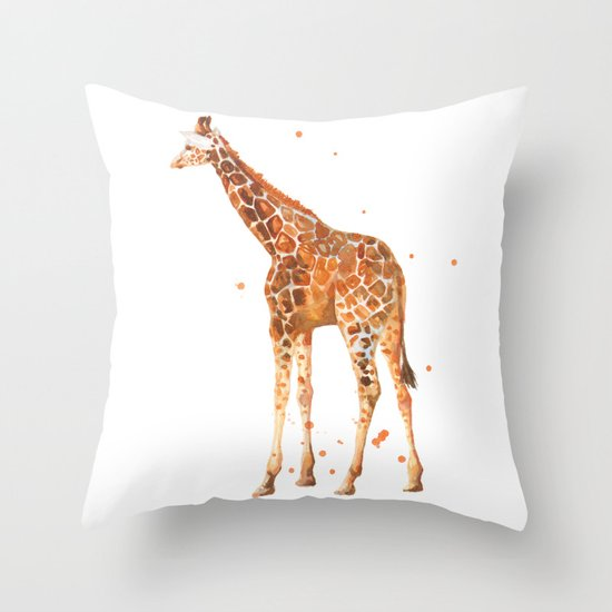 giraffe, african animals, wildlife, cute baby giraffe, nursery animals, safari Throw Pillow
