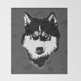 husky dog face grafiti spray art Throw Blanket