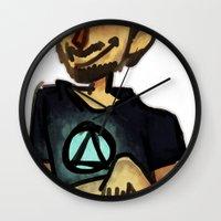 tony stark Wall Clocks featuring Tony Stark by Brizy Eckert
