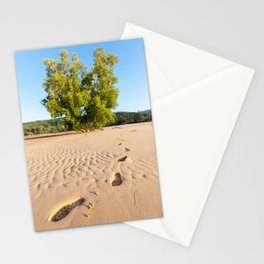 Footprints in the sand at Layan Beach, Phuket, Thailand Stationery Cards