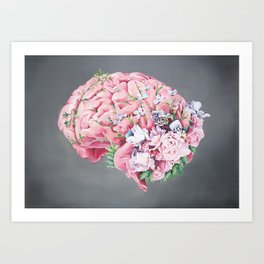 Floral Anatomy Brain Art Print