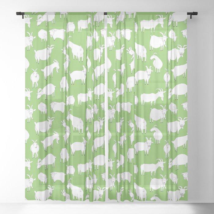 Green Goats Sheer Curtain