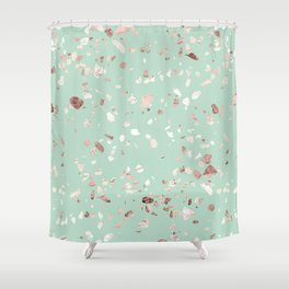 Minty Pink Shower Curtain