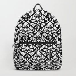 Flourish Damask Big Ptn White on Black Backpack