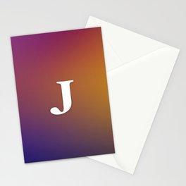 Monogram Letter J Initial Orange & Yellow Vaporwave Stationery Cards