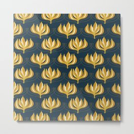 Fleur Exotique Retro Floral Pattern in Mustard Yellow and Navy Blue Metal Print