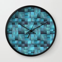 Tiled Pattern Shades Of Blue Wall Clock