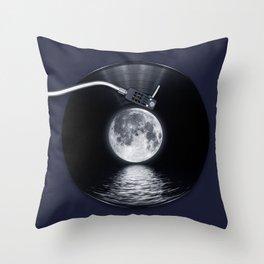 Vinyl moon Throw Pillow