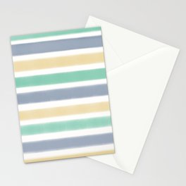 Biscay Green Faded Denim Sunlight Stripe Pattern Stationery Cards