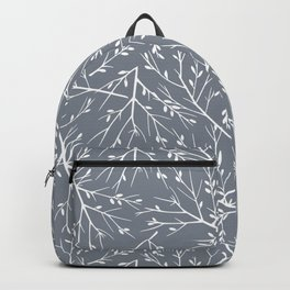 Botanical, Twigs and Leaves, Floral Prints, Gray Backpack