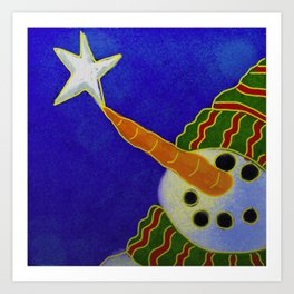 Snowman and Star Abstract Digital Painting  Art Print