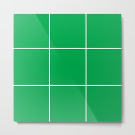 Green White Grid Metal Print