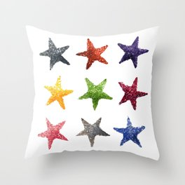 Colourful Watercolour Star, Watercolor, Nursery decor, New Baby Gift, Fine art painting fr Throw Pillow