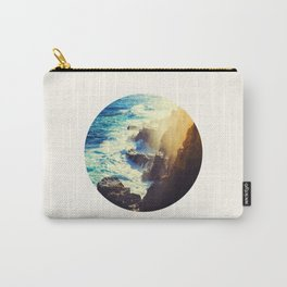 Mid Century Modern Round Circle Photo Graphic Design Blue Waters Rocky Shores With Sunlight Carry-All Pouch