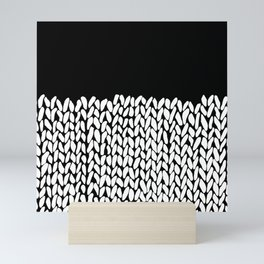 Half Knit  Black Mini Art Print