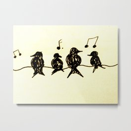 Birds on a Wire Ink Doodle Metal Print