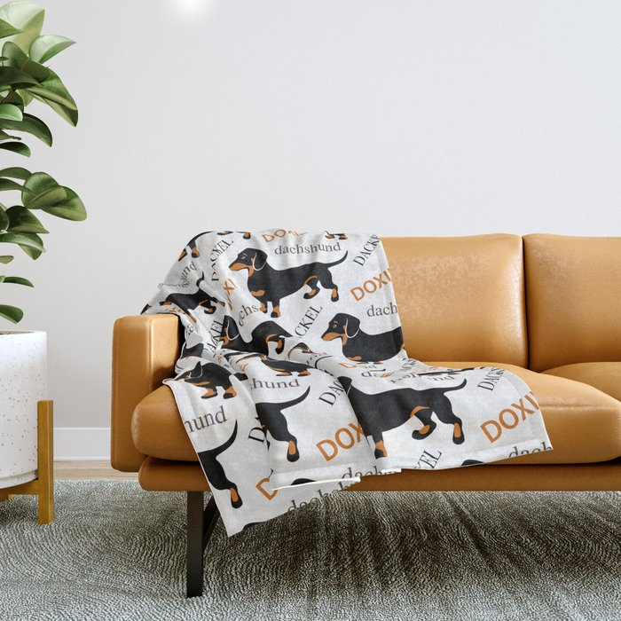 Black Tan Smooth Dachshund Throw Blanket