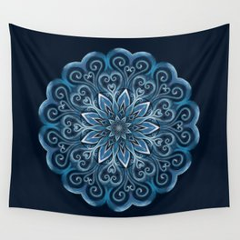 Blue Water Mandala Swirl Wall Tapestry