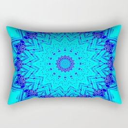 Bright blue turquoise Mandala Design Rectangular Pillow