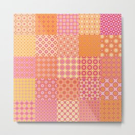 25 Designs Patchwork Tiles in Orange Pink and Yellow Metal Print