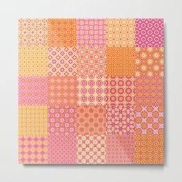 25 Designs Patchwork Tiles in Orange Pink and Yellow Metal Print