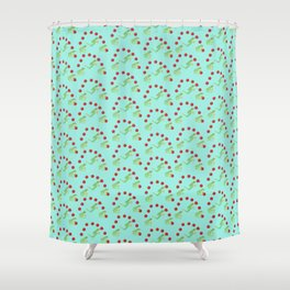 Juggling Frogs - blue background Shower Curtain