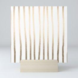 Simply Drawn Vertical Stripes in White Gold Sands Mini Art Print