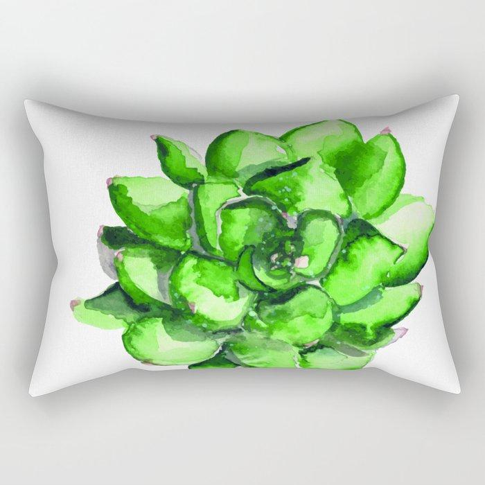 Green Watercolor Succulent | Mohntage Rectangular Pillow