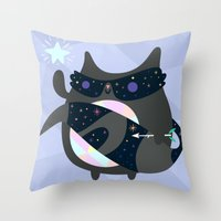 racoon Throw Pillows featuring Racoon Wizard by Crowded Teeth