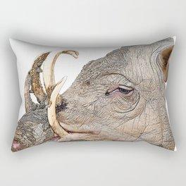 Babyrousa Babirusa Deer-pig Unwatchable Painful Curved Fangs Rectangular Pillow