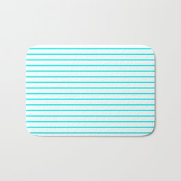 Horizontal Lines (Aqua Cyan/White) Bath Mat