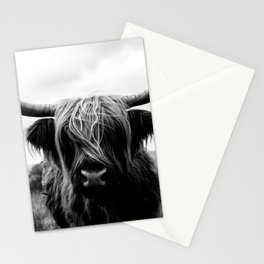 Scottish Highland Cattle Black and White Animal Stationery Cards