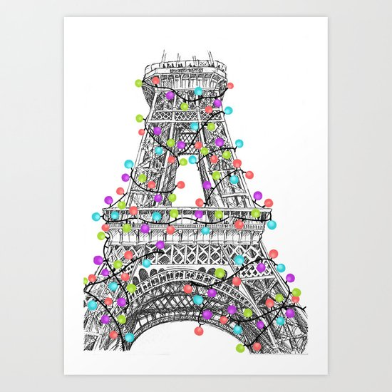 Paris Eiffel Tower Holiday Lights Multi Art Print